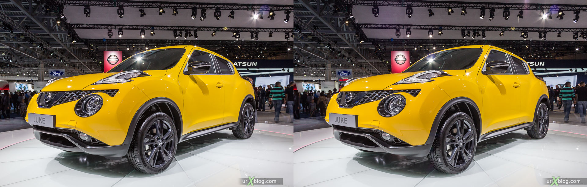 Nissan Juke, Moscow International Automobile Salon 2014, MIAS 2014, girls, models, Crocus Expo, Moscow, Russia, 3D, stereo pair, cross-eyed, crossview, cross view stereo pair, stereoscopic, 2014