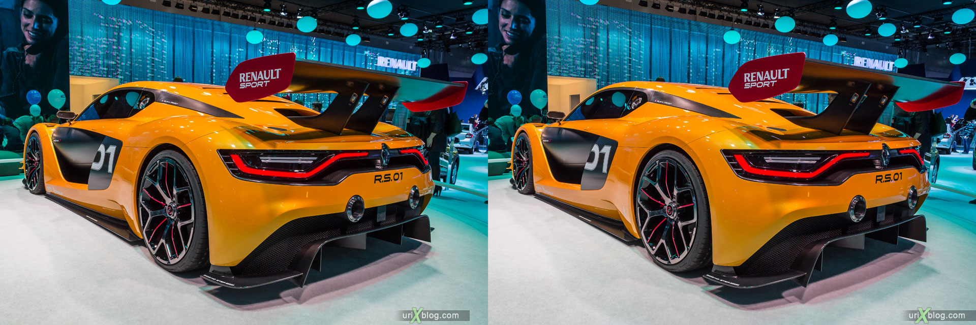 Renault R.S.01, Moscow International Automobile Salon 2014, MIAS 2014, girls, models, Crocus Expo, Moscow, Russia, 3D, stereo pair, cross-eyed, crossview, cross view stereo pair, stereoscopic, 2014