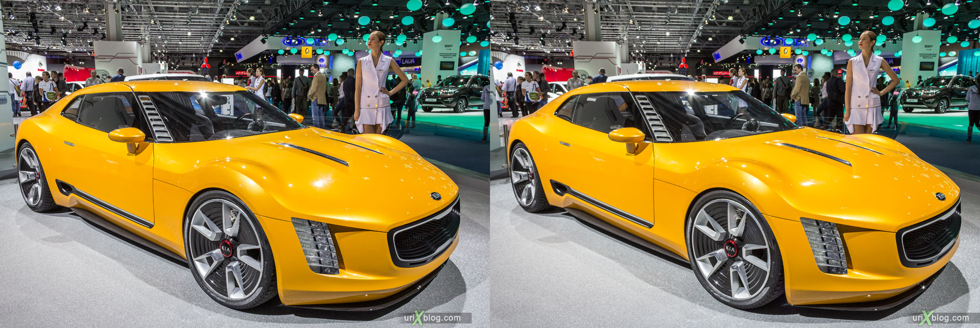 KIA, Moscow International Automobile Salon 2014, MIAS 2014, girls, models, Crocus Expo, Moscow, Russia, 3D, stereo pair, cross-eyed, crossview, cross view stereo pair, stereoscopic, 2014