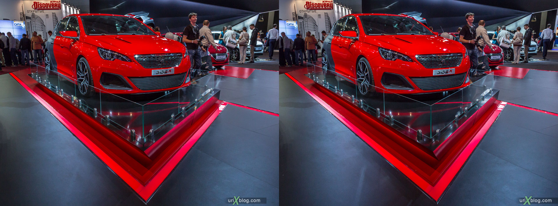 Peugeot 308 R, Moscow International Automobile Salon 2014, MIAS 2014, girls, models, Crocus Expo, Moscow, Russia, 3D, stereo pair, cross-eyed, crossview, cross view stereo pair, stereoscopic, 2014