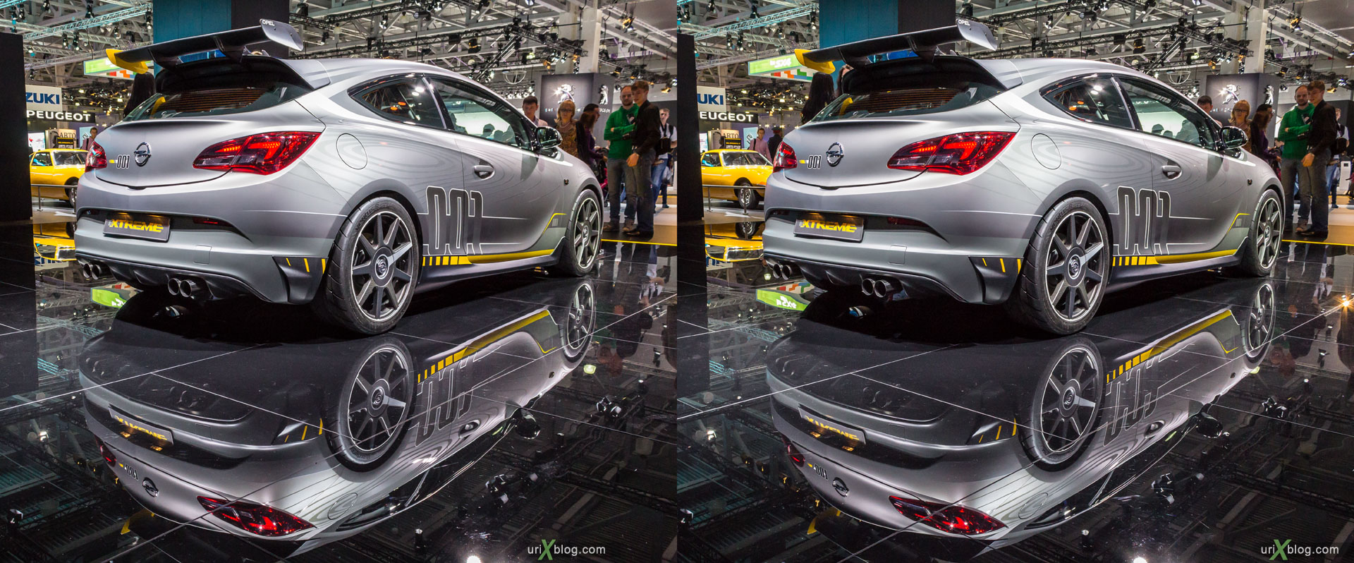 Opel Xtreme, Moscow International Automobile Salon 2014, MIAS 2014, girls, models, Crocus Expo, Moscow, Russia, 3D, stereo pair, cross-eyed, crossview, cross view stereo pair, stereoscopic, 2014
