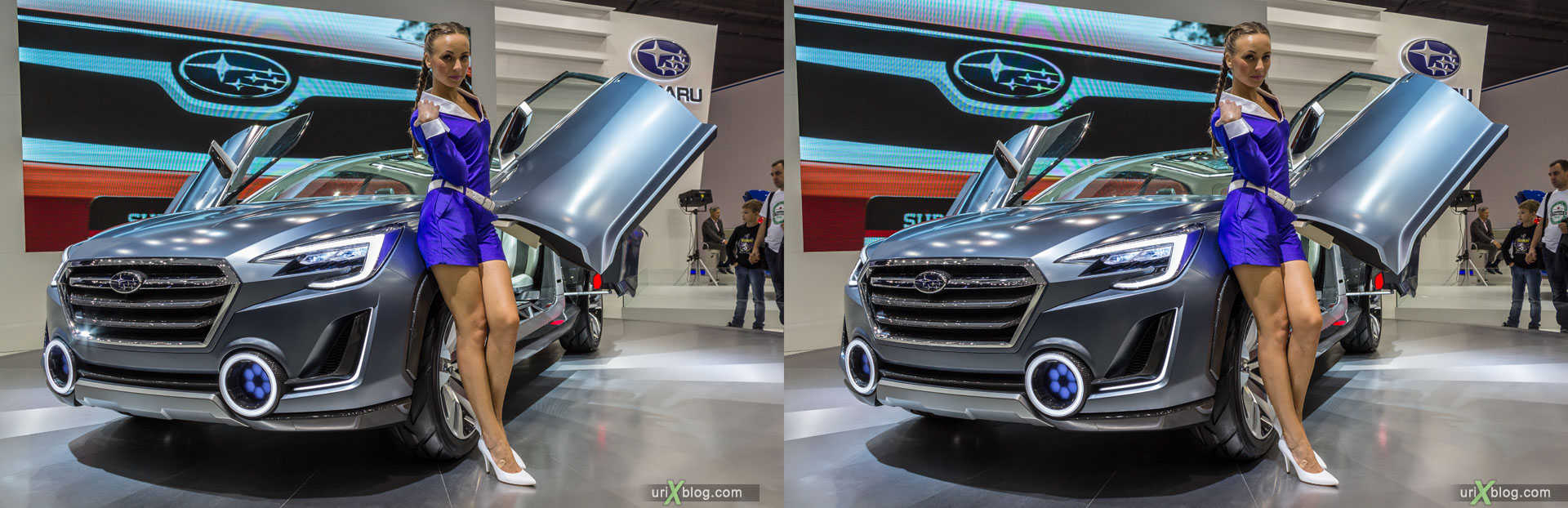 Subaru Viziv 2 Concept, Moscow International Automobile Salon 2014, MIAS 2014, girls, models, Crocus Expo, Moscow, Russia, 3D, stereo pair, cross-eyed, crossview, cross view stereo pair, stereoscopic, 2014