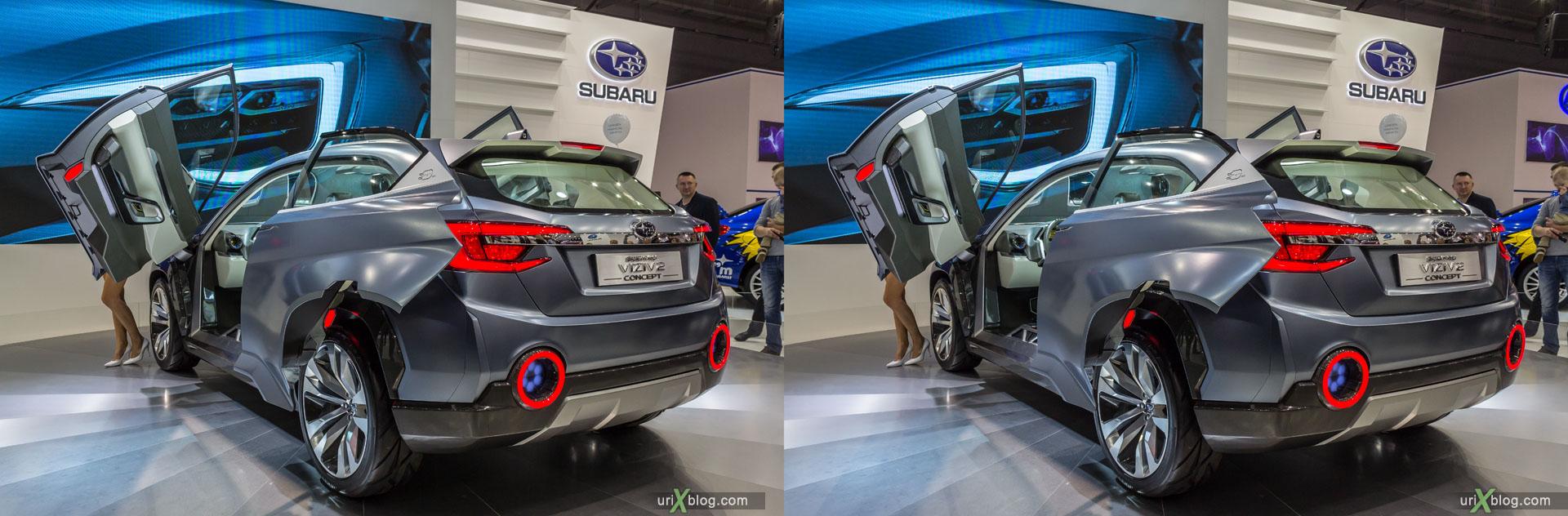 Subaru Viziv 2 Concept, ММАС 2014, Московский Международный Автомобильный Салон 2014, Крокус Экспо, машина, автомобиль, девушка, модель, женщина, выставка, Москва, Россия, 3D, перекрёстная стереопара, стерео, стереопара, 2014