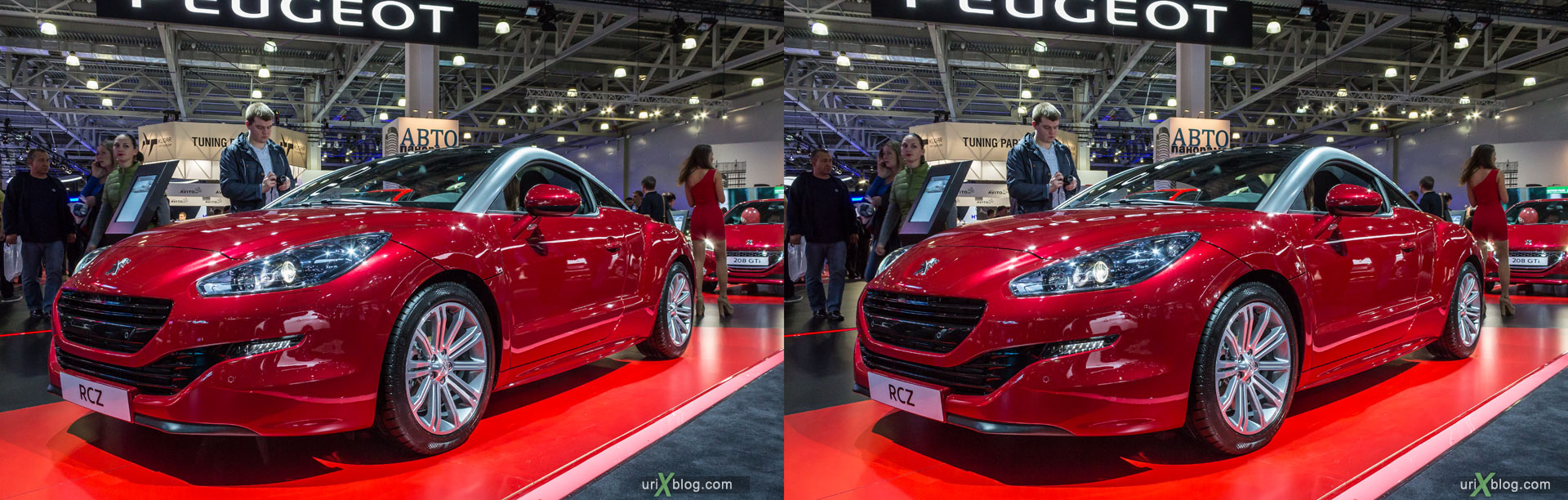 Peugeot RCZ, Moscow International Automobile Salon 2014, MIAS 2014, girls, models, Crocus Expo, Moscow, Russia, 3D, stereo pair, cross-eyed, crossview, cross view stereo pair, stereoscopic, 2014