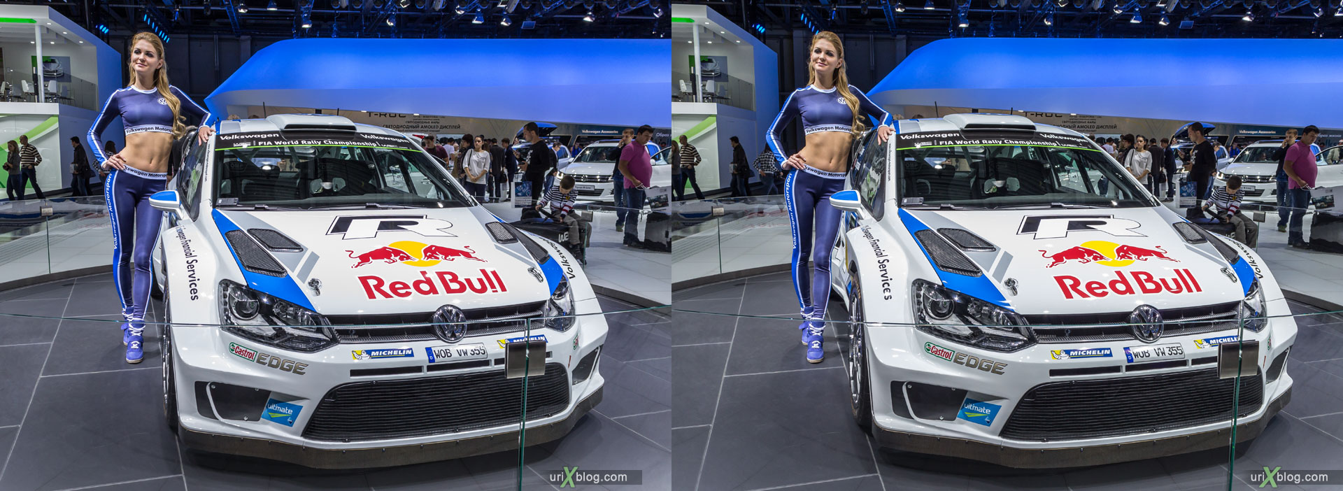 Volkswagen, Moscow International Automobile Salon 2014, MIAS 2014, girls, models, Crocus Expo, Moscow, Russia, 3D, stereo pair, cross-eyed, crossview, cross view stereo pair, stereoscopic, 2014