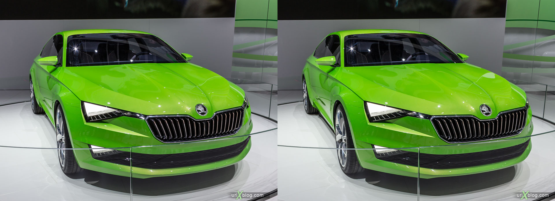 Škoda, Moscow International Automobile Salon 2014, MIAS 2014, girls, models, Crocus Expo, Moscow, Russia, 3D, stereo pair, cross-eyed, crossview, cross view stereo pair, stereoscopic, 2014