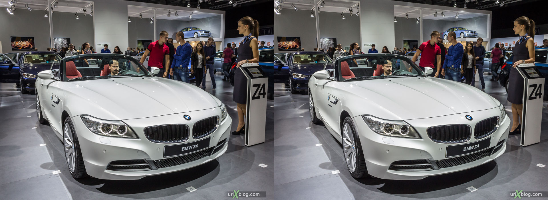 BMW Z4, Moscow International Automobile Salon 2014, MIAS 2014, girls, models, Crocus Expo, Moscow, Russia, 3D, stereo pair, cross-eyed, crossview, cross view stereo pair, stereoscopic, 2014