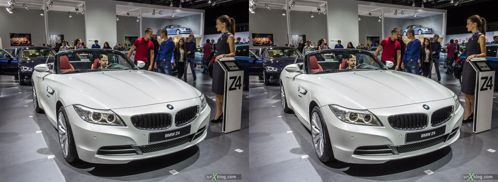 BMW Z4, ММАС 2014, Московский Международный Автомобильный Салон 2014, Крокус Экспо, машина, автомобиль, девушка, модель, женщина, выставка, Москва, Россия, 3D, перекрёстная стереопара, стерео, стереопара, 2014