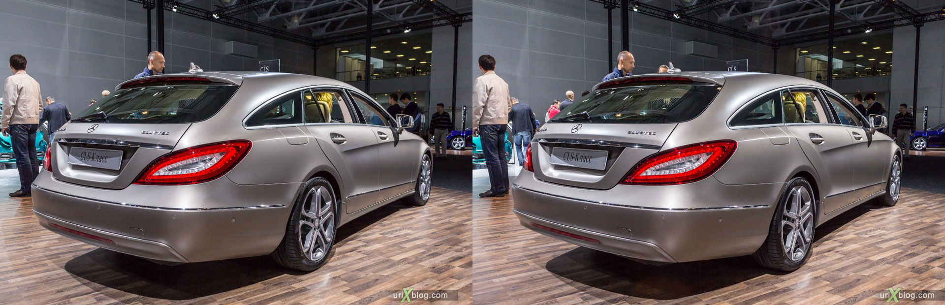 Mercedes-Benz Bluetec, Moscow International Automobile Salon 2014, MIAS 2014, girls, models, Crocus Expo, Moscow, Russia, 3D, stereo pair, cross-eyed, crossview, cross view stereo pair, stereoscopic, 2014