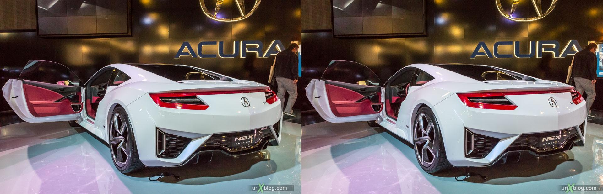 Acura NSX Concept, ММАС 2014, Московский Международный Автомобильный Салон 2014, Крокус Экспо, машина, автомобиль, девушка, модель, женщина, выставка, Москва, Россия, 3D, перекрёстная стереопара, стерео, стереопара, 2014