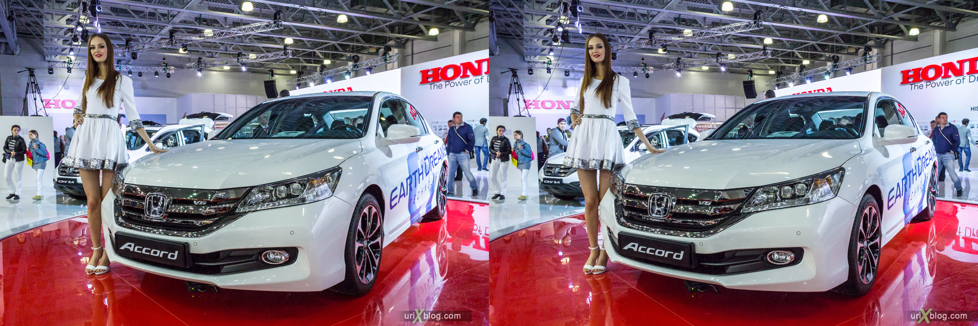 Honda Accord, Moscow International Automobile Salon 2014, MIAS 2014, girls, models, Crocus Expo, Moscow, Russia, 3D, stereo pair, cross-eyed, crossview, cross view stereo pair, stereoscopic, 2014