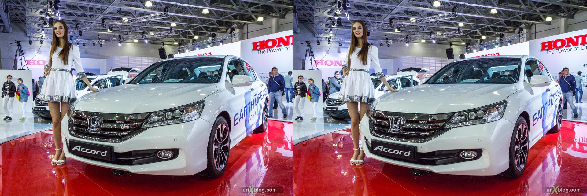 Honda Accord, ММАС 2014, Московский Международный Автомобильный Салон 2014, Крокус Экспо, машина, автомобиль, девушка, модель, женщина, выставка, Москва, Россия, 3D, перекрёстная стереопара, стерео, стереопара, 2014