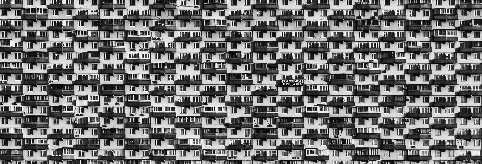 2014, Prospect Mira, Peace avenue, 184, house, VDNKh, Moscow, USSR, Russia, panorama, windows, BW, black and white
