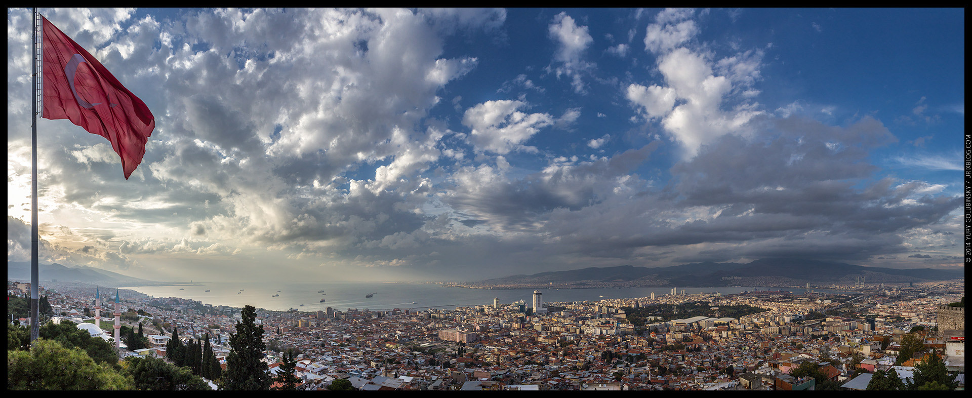 2014, Izmir, Kadifekale, castle, fortress, hill, Turkey, panorama, horizon, Aegean sea, ships, bay, red, flag, city