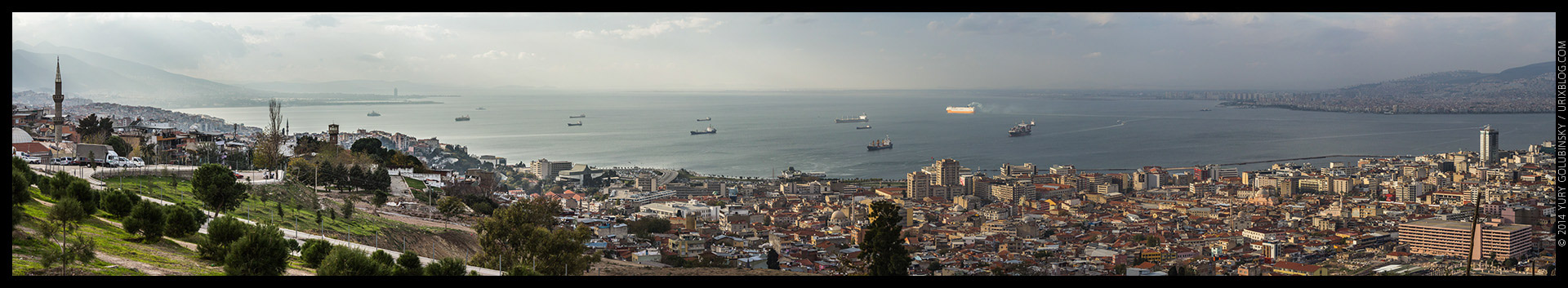 2014, Izmir, viewpoint, Kadifekale, castle, fortress, hill, Turkey, panorama, horizon, Aegean sea, ships, bay