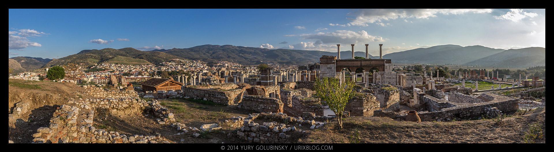 Церковь, Аясулук, Айасулук, крепость, замок, холм, Эгейское море, Сельчук, Измир, Турция, старинный, средневековый, руины, раскопки, панорама, 2014
