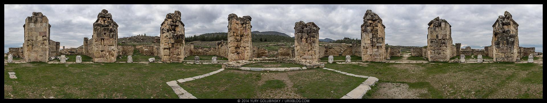 Иераполис, церковь, вечер, старинный, античный, восточный, римский, греческий, город, полис, руины, раскопки, византия, империя, Дэнизли, Турция, панорама, 2014