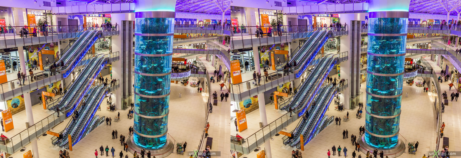 giant aquarium, shopping mall, Aviapark, Khodynka, Moscow, Russia, hyper stereo, 2014, 3D, stereo pair, cross-eyed, crossview, cross view stereo pair, stereoscopic
