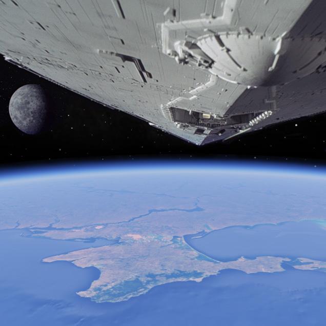 Crimea, Russia, cosmos, space, Earth, stars, spaceship, Star Wars, blockade, 2014