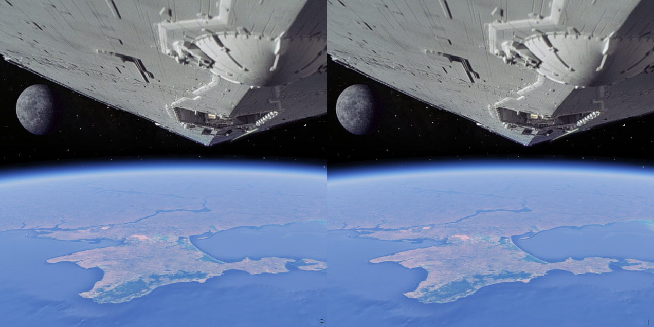 Crimea, Russia, cosmos, space, Earth, stars, spaceship, Star Wars, blockade, hyper stereo, 2014, 3D, stereo pair, cross-eyed, crossview, cross view stereo pair, stereoscopic