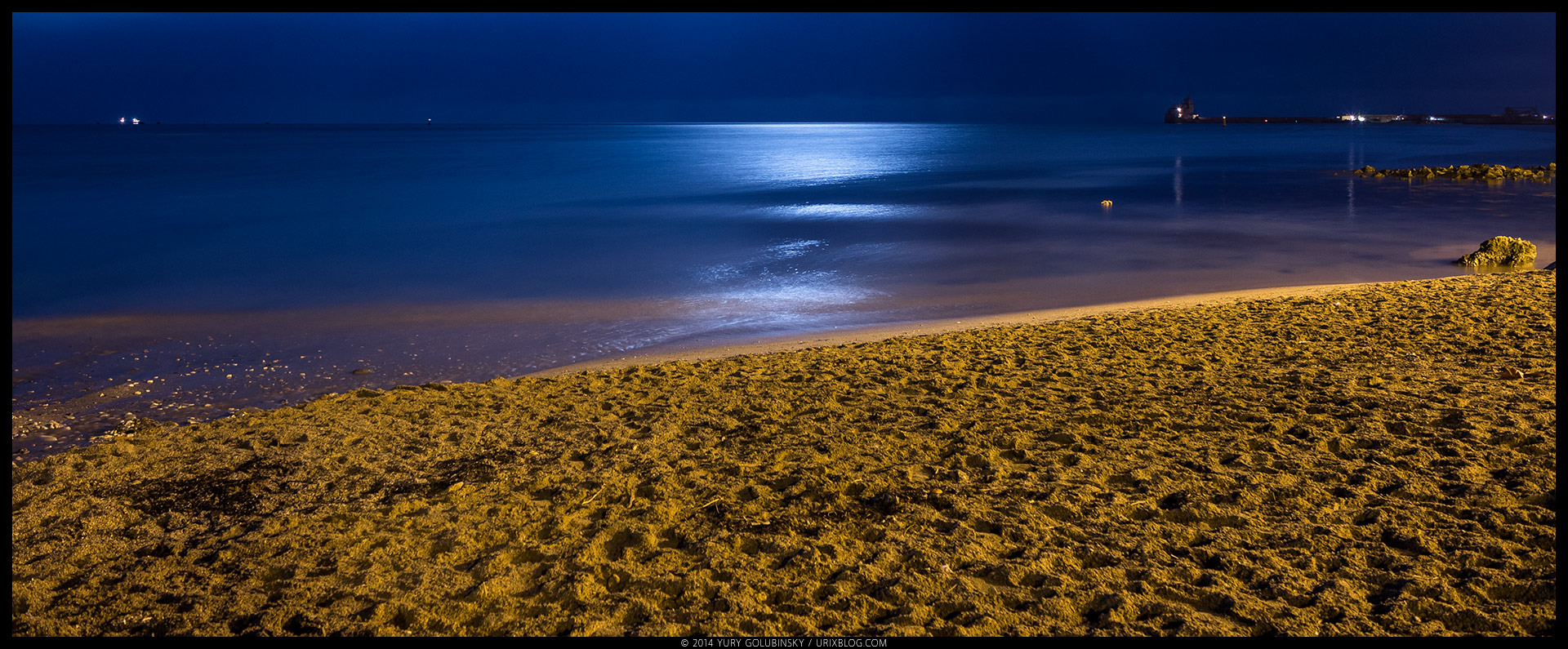 night, beach, sand, Black sea, moon, reflection, Feodosia, Crimea, Russia, winter, january, panorama, 2015