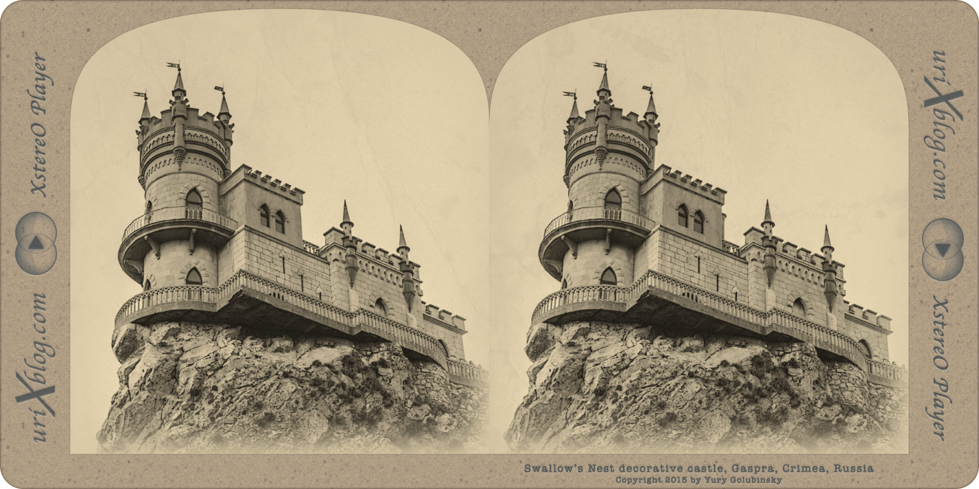 Swallow's Nest, decorative castle, cliff, rock, Crimea, Russia, Gaspra, Yalta, Alupka, 2015, stereocard, 3D, stereo