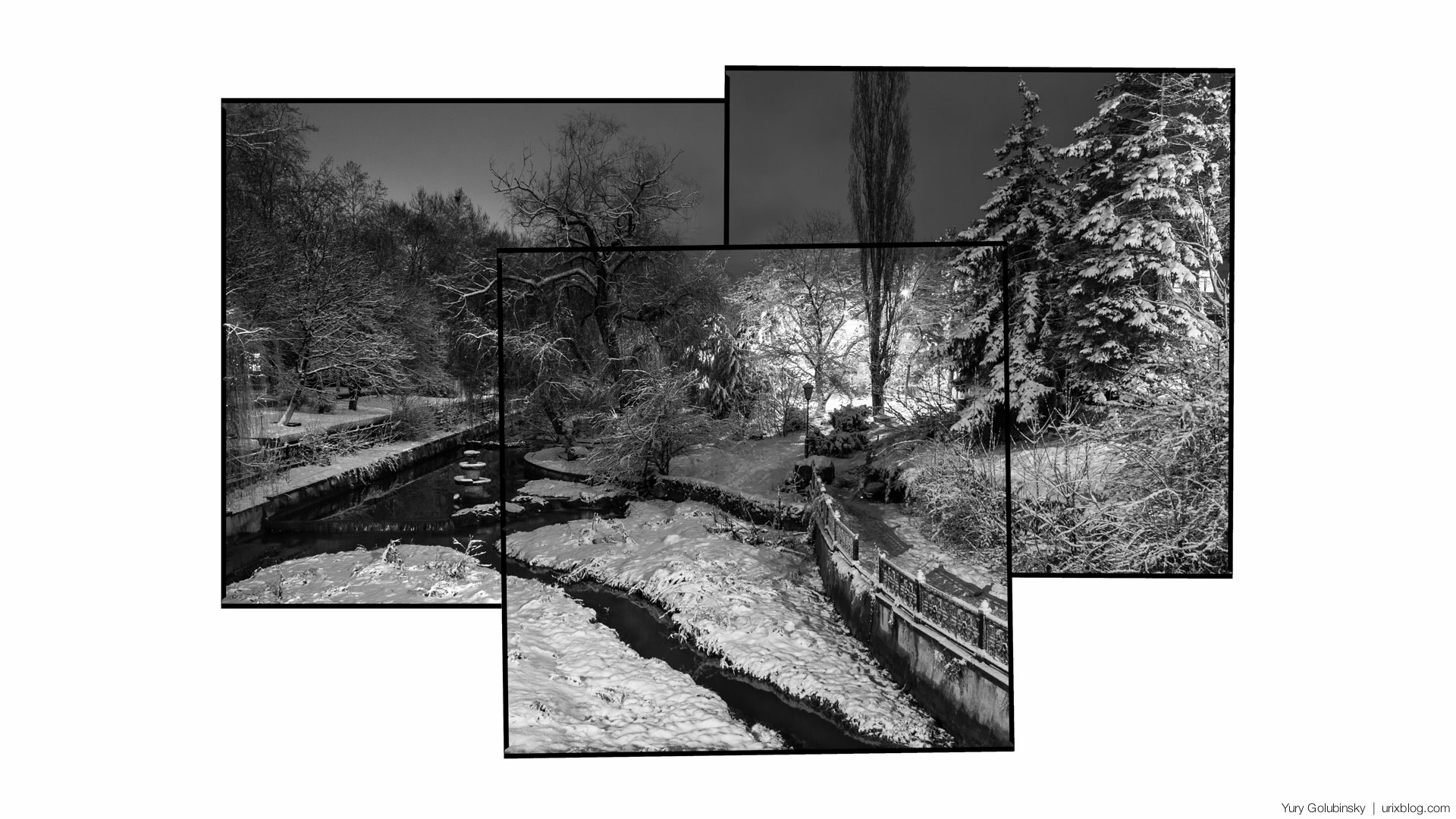 night, Simferopol', Salgir, river, embankment, park, Shmidt street, Crimea, Russia, winter, january, snow, panorama, BW, black and white, 2015