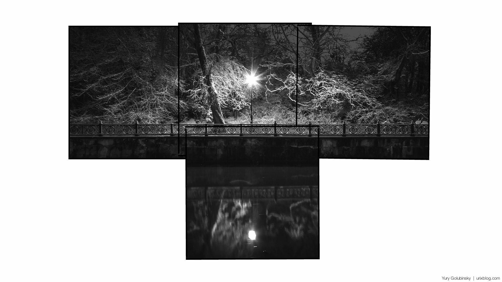 ночь, Симферополь, река Салгир, набережная, парк, Крым, Россия, зима, январь, снег, панорама, ЧБ, чёрно белое, 2015
