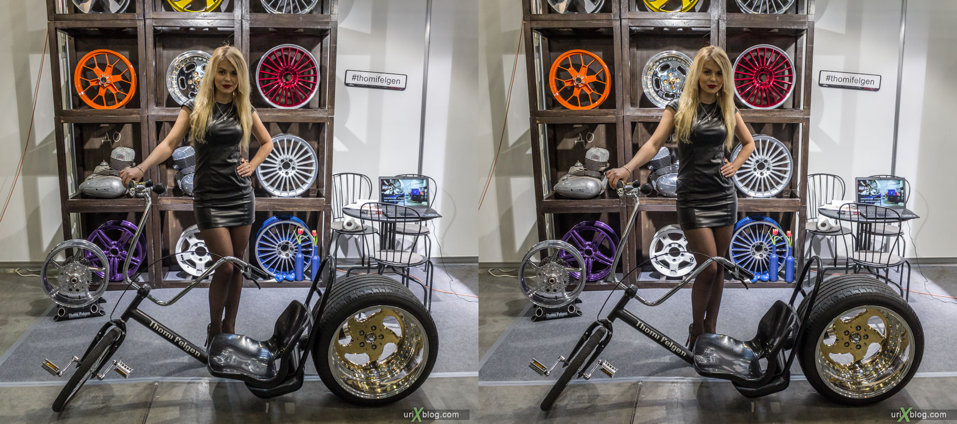 Moto park, exhibition, girl, model, Crocus Expo, Moscow, Russia, 3D, stereo pair, cross-eyed, crossview, cross view stereo pair, stereoscopic, 2015
