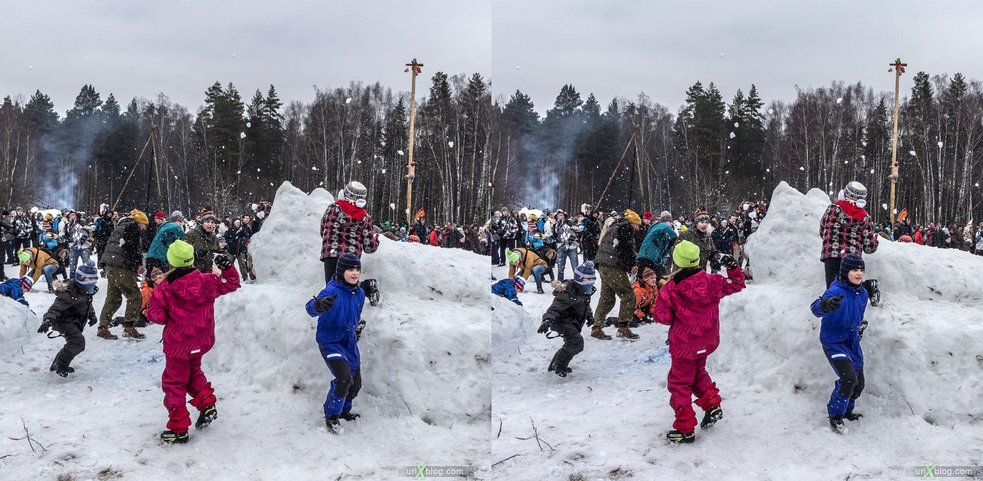 Bakshevskaja Maslenitsa, snowballs, fight, Khlyupino railway station, Moscow, Russia, 3D, stereo pair, cross-eyed, crossview, cross view stereo pair, stereoscopic, 2015