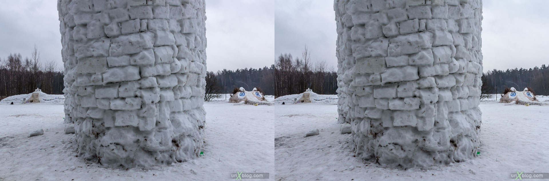 Bakshevskaja Maslenitsa, snowballs, fight, Khlyupino railway station, Moscow, Russia, 3D, stereo pair, cross-eyed, crossview, cross view stereo pair, stereoscopic, 2015
