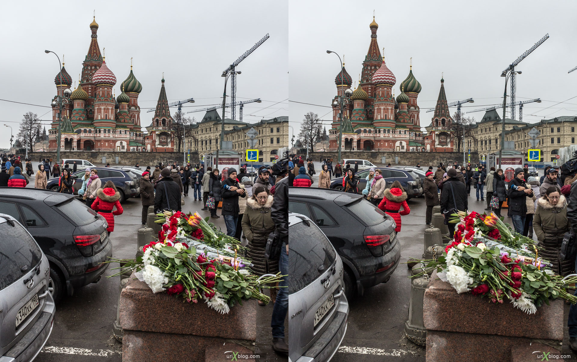 Boris Nemtsov, dead, death, shot to death, Kremlin, Red Square, Moscow, Russia, 3D, stereo pair, cross-eyed, crossview, cross view stereo pair, stereoscopic, 2015
