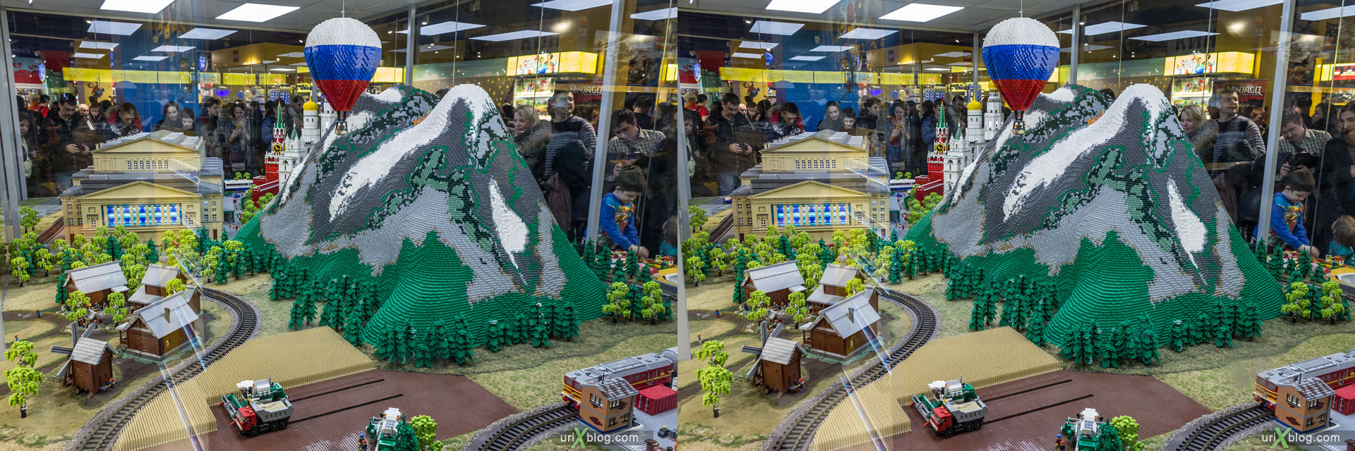 landscape, LEGO, Hamleys-World, Central Childrens World, Shop, Store, Lubyanskaya square, Moscow, Russia, 3D, stereo pair, cross-eyed, crossview, cross view stereo pair, stereoscopic, 2015