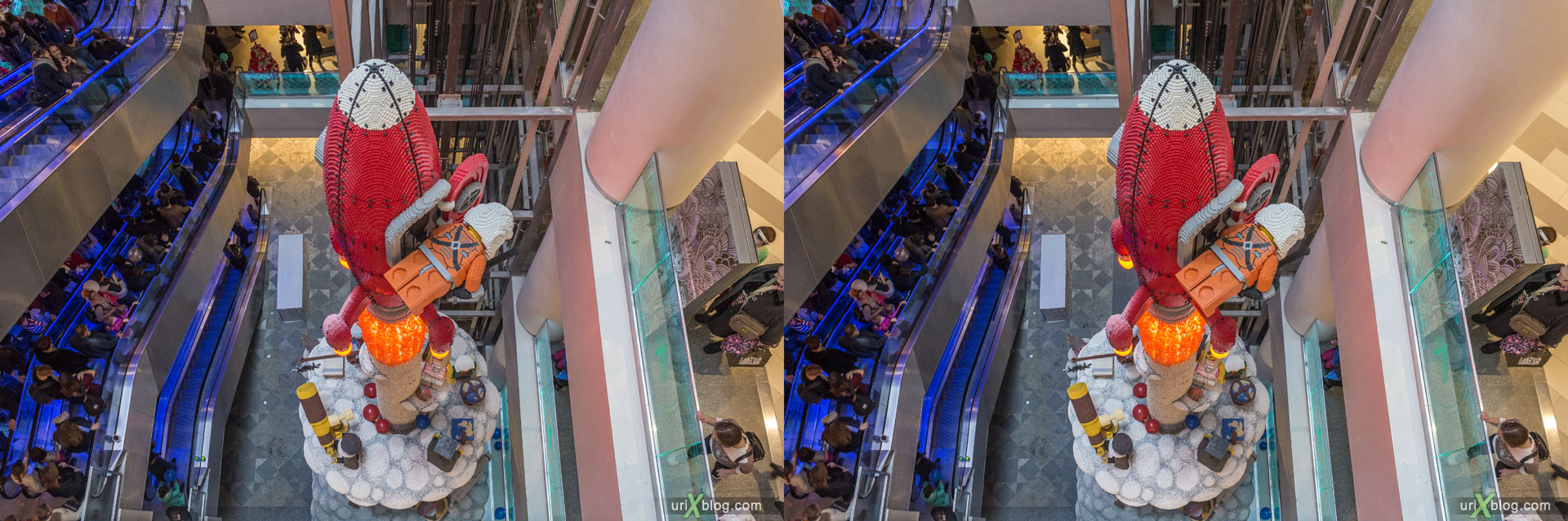 LEGO, Hamleys-World, Central Childrens World, Shop, Store, Lubyanskaya square, Moscow, Russia, 3D, stereo pair, cross-eyed, crossview, cross view stereo pair, stereoscopic, 2015