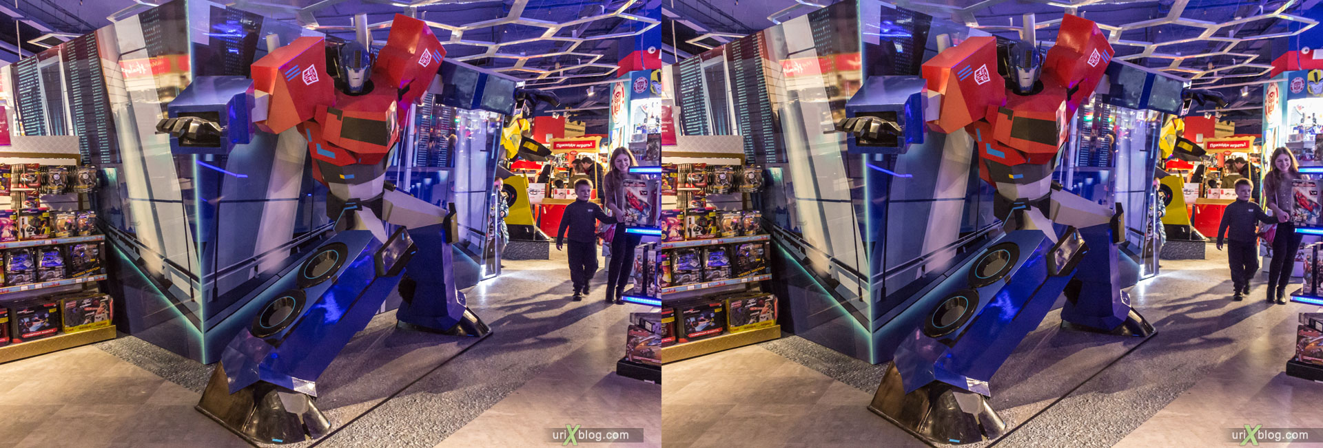 Optimus Prime, autobot, Hamleys-World, Central Childrens World, Shop, Store, Lubyanskaya square, Moscow, Russia, 3D, stereo pair, cross-eyed, crossview, cross view stereo pair, stereoscopic, 2015