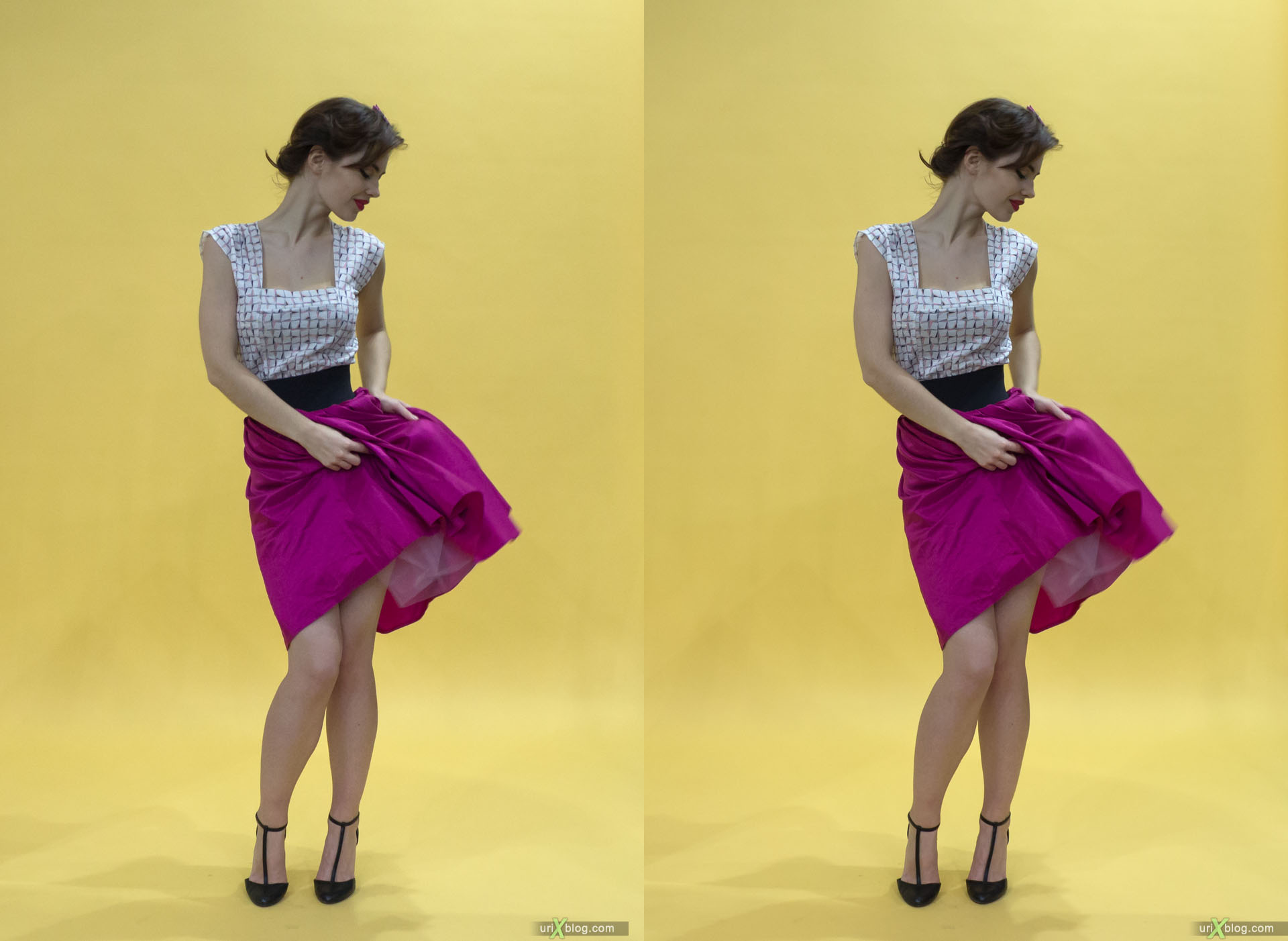 model, girl, Photoforum, exhibition, Crocus Expo, Moscow, Russia, 3D, stereo pair, cross-eyed, crossview, cross view stereo pair, stereoscopic, 2015