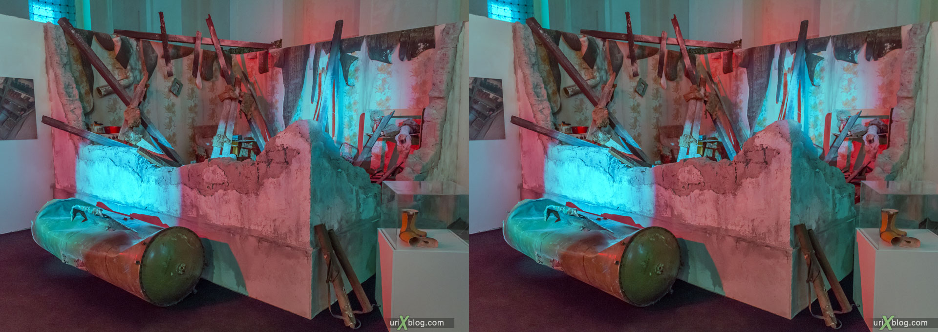 Material evidence, Physical evidence, real evidenca, exhibition, VDNKh, VVTs, Donbass, DNR, LNR, Ukraine, Moscow, Russia, 3D, stereo pair, cross-eyed, crossview, cross view stereo pair, stereoscopic, 2015