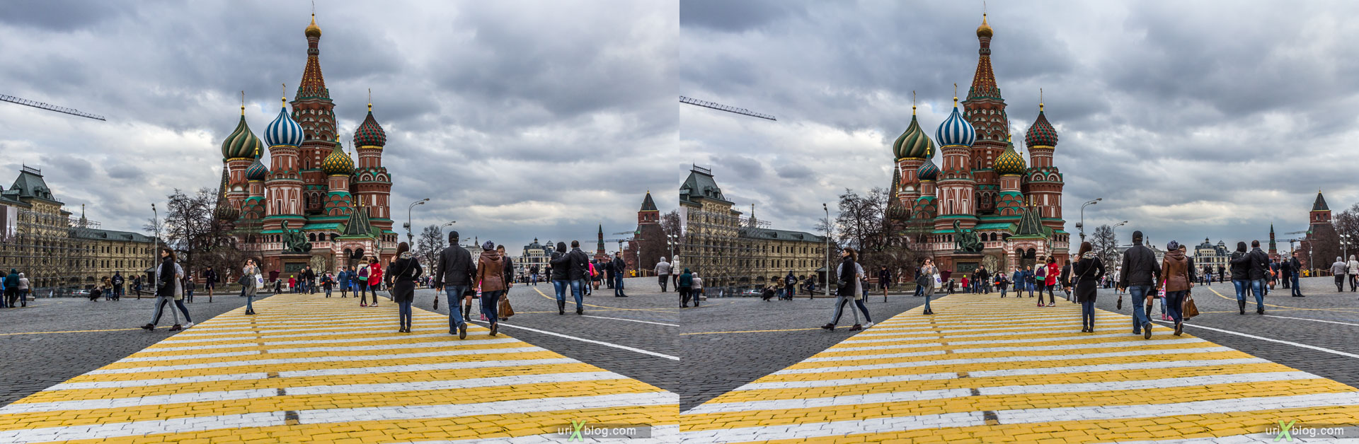 Red square, Moscow, Russia, 3D, stereo pair, cross-eyed, crossview, cross view stereo pair, stereoscopic, 2015