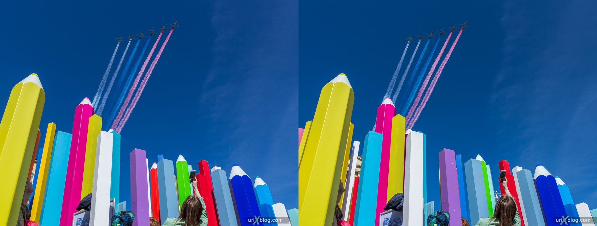 parade, aviation, airplanes, 9 may, victory day, rehearsal, pencils, Moscow, Russia, 3D, stereo pair, cross-eyed, crossview, cross view stereo pair, stereoscopic, 2015