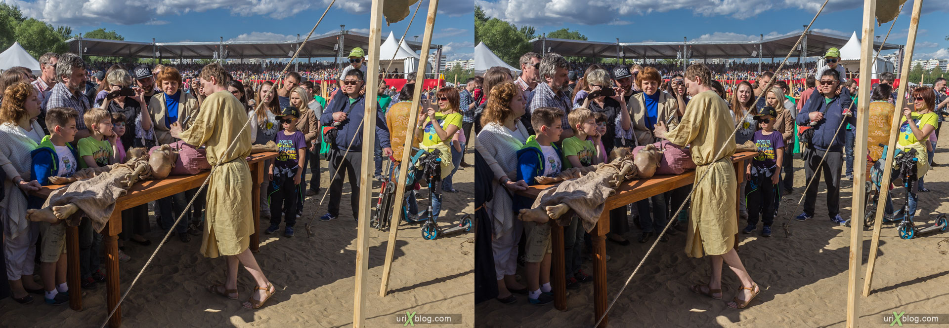 Times and Epochs, festival, Kolomenskoye park, Moscow, Russia, 3D, stereo pair, cross-eyed, crossview, cross view stereo pair, stereoscopic, 2015