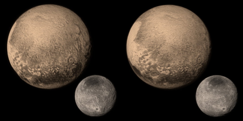 Pluto, Charon, planets, cosmos, space, astronomy, 3D, stereo pair, cross-eyed, crossview, cross view stereo pair, stereoscopic, 2015