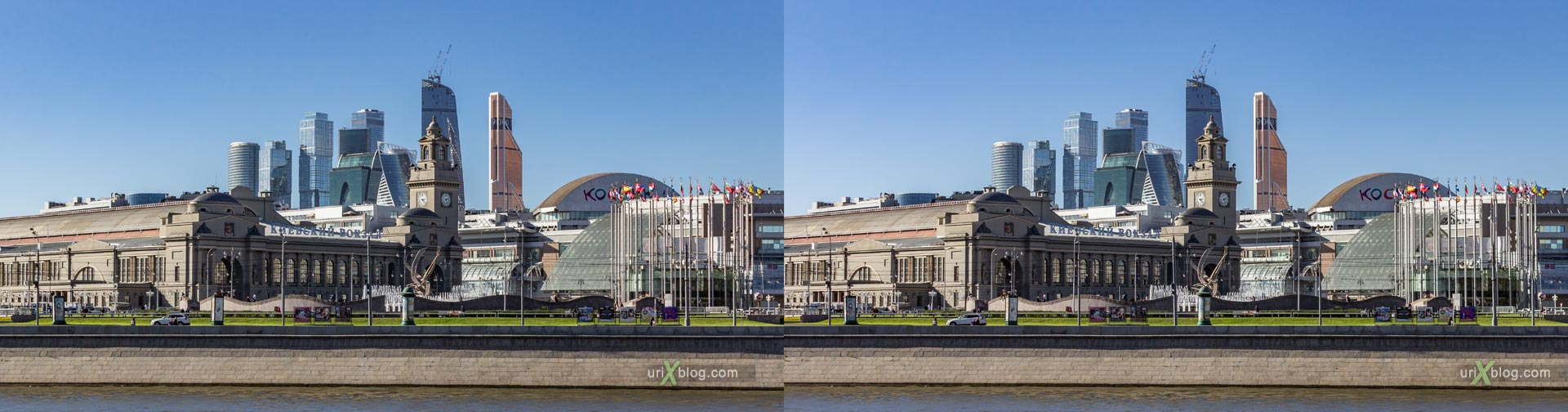 Moskva city, river, Rostovskaya embankment, Kievsky railway station, European square, Moscow, Russia, panorama, 3D, stereo pair, cross-eyed, crossview, cross view stereo pair, stereoscopic, 2015, hyperstereo