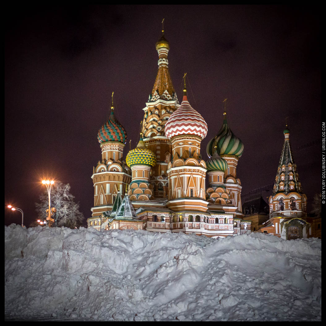 Saint Basils Cathedral, snow, winter, tractor, night, Moscow, Russia, 2016, panorama