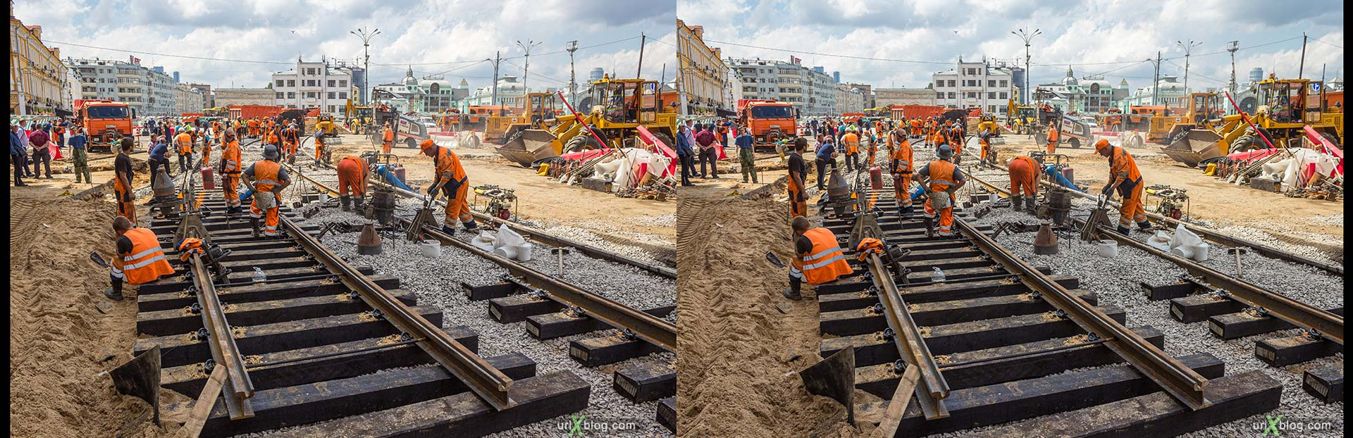 tram, tram tracks, tram rails, repair, road, railway, workers, builders, Belorusskaya, Tverskaya Zastava Square, Moscow, Russia, 3D, stereo pair, cross-eyed, crossview, cross view stereo pair, stereoscopic