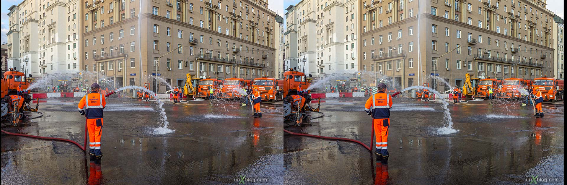 tram, tram tracks, tram rails, repair, road, railway, workers, builders, Belorusskaya, Tverskaya Zastava Square, Moscow, Russia, 3D, stereo pair, cross-eyed, crossview, cross view stereo pair, stereoscopic