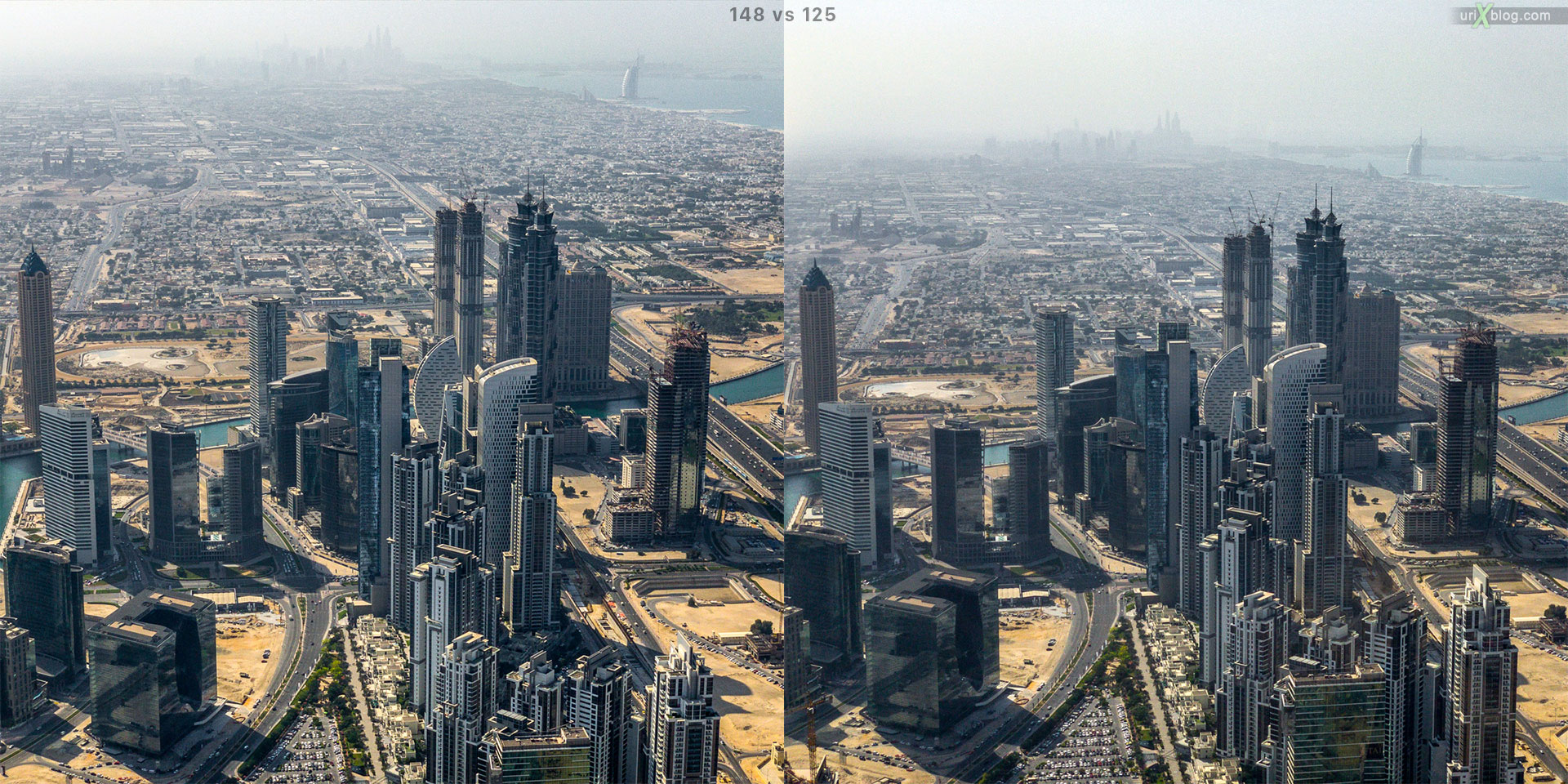 Dubai, Burj Khalifa, tower, UAE, comparison, horizon, panorama, 2017, 148, 124, 125, floors