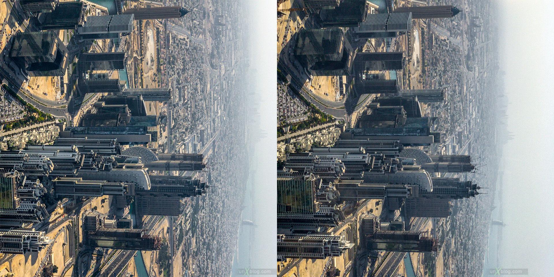 Дубай, Бурдж Халифа, Башня, ОАЭ, сравнение, горизонт, панорама, 2017, 148, 124, 125, этажи, 3D, перекрёстная стереопара, стерео, стереопара, 2017, гиперстерео
