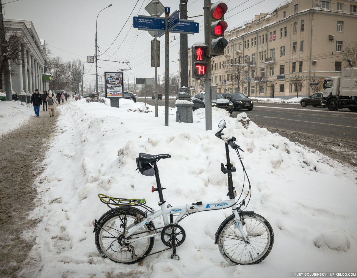 bike, Moscow, Russia, 2018, winter, snow