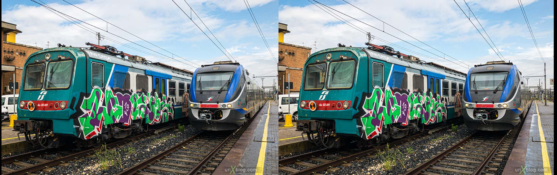 Ravenna, train station, train, electric locomotive, Italy, 3D, stereo pair, cross-eyed, crossview, cross view stereo pair, stereoscopic