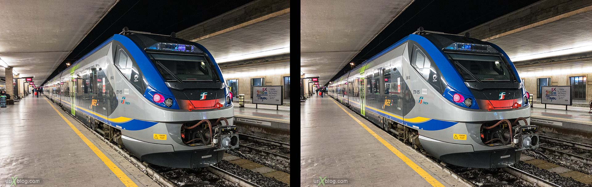 Santa Maria Novella, Florence, train station, train, electric locomotive, Italy, 3D, stereo pair, cross-eyed, crossview, cross view stereo pair, stereoscopic
